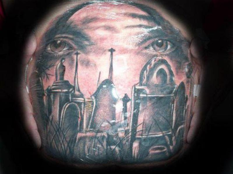 Eye graveyard tattoo design