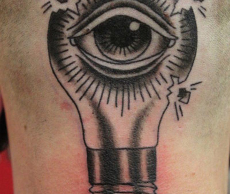 Eye light bulb tattoo