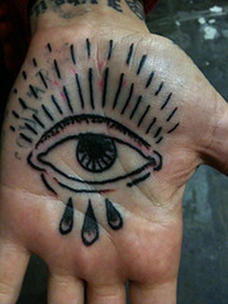 Eye tattoo on palm hand 2