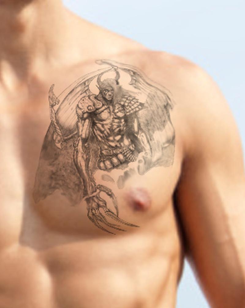 Fabulous angel tattoo on chest - Tattoos Book - 65.000 ...  Fallen Angel Tattoo For Men