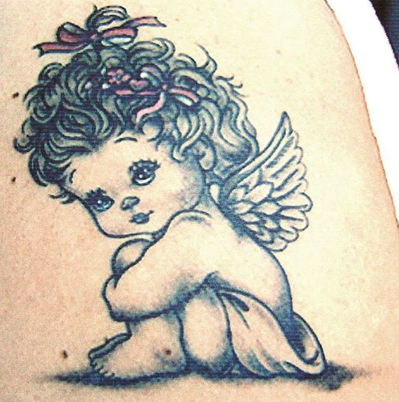 Fabulous baby angel tattoo tattoos book tattoos for Baby s first tattoo book
