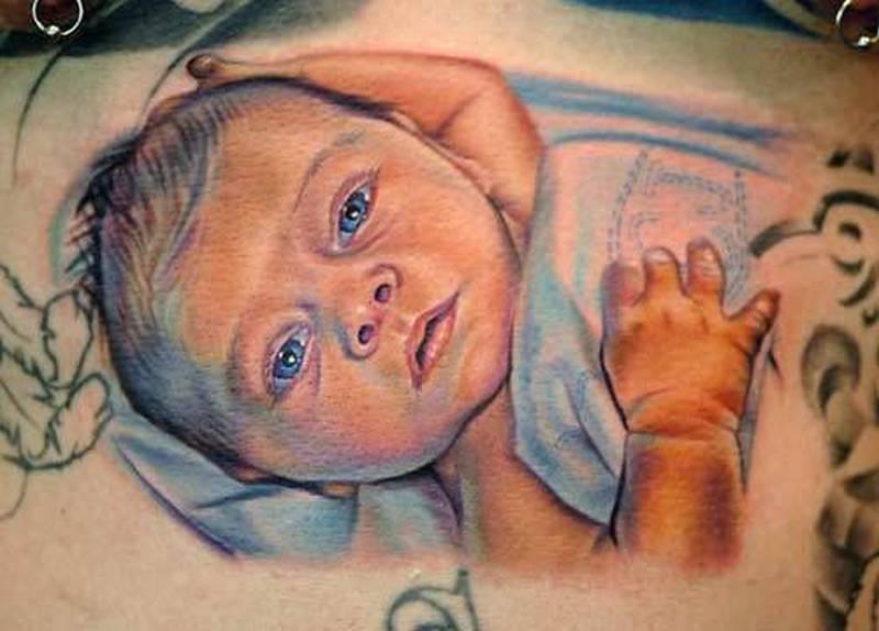 Fabulous baby portrait tattoo