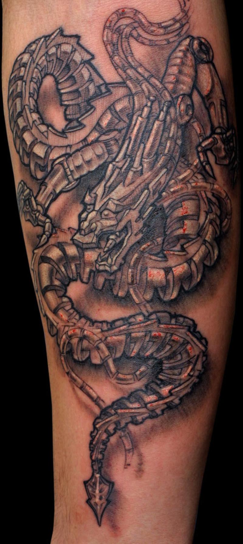 Fabulous biomechanical dragon tattoo tattoos book 65 for Dragon tattoo book
