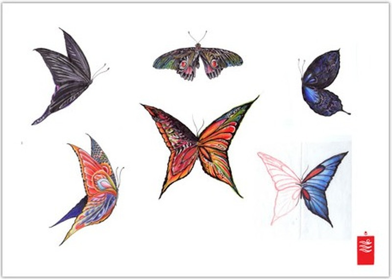 Fabulous butterflies tattoo design