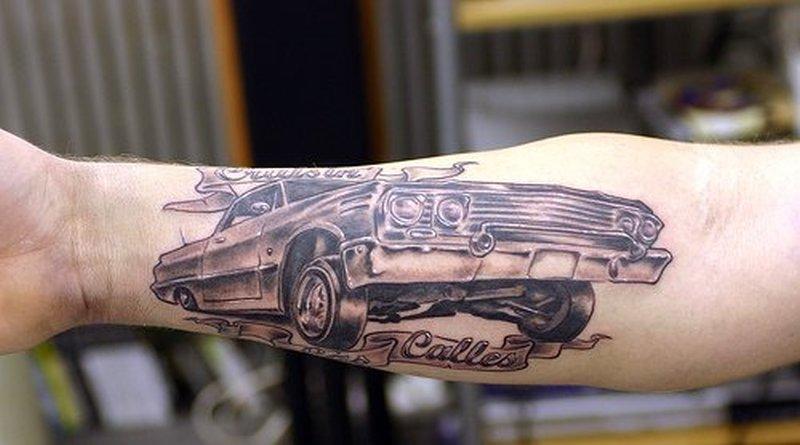 Fabulous car tattoo design on forearm