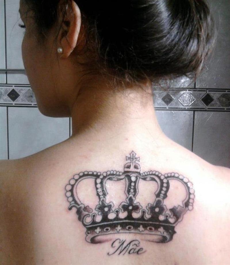 Fabulous crown tattoo on upper back 2