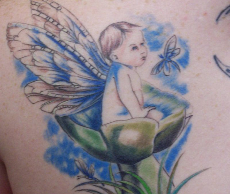 Fairy baby with butterflies tattoo
