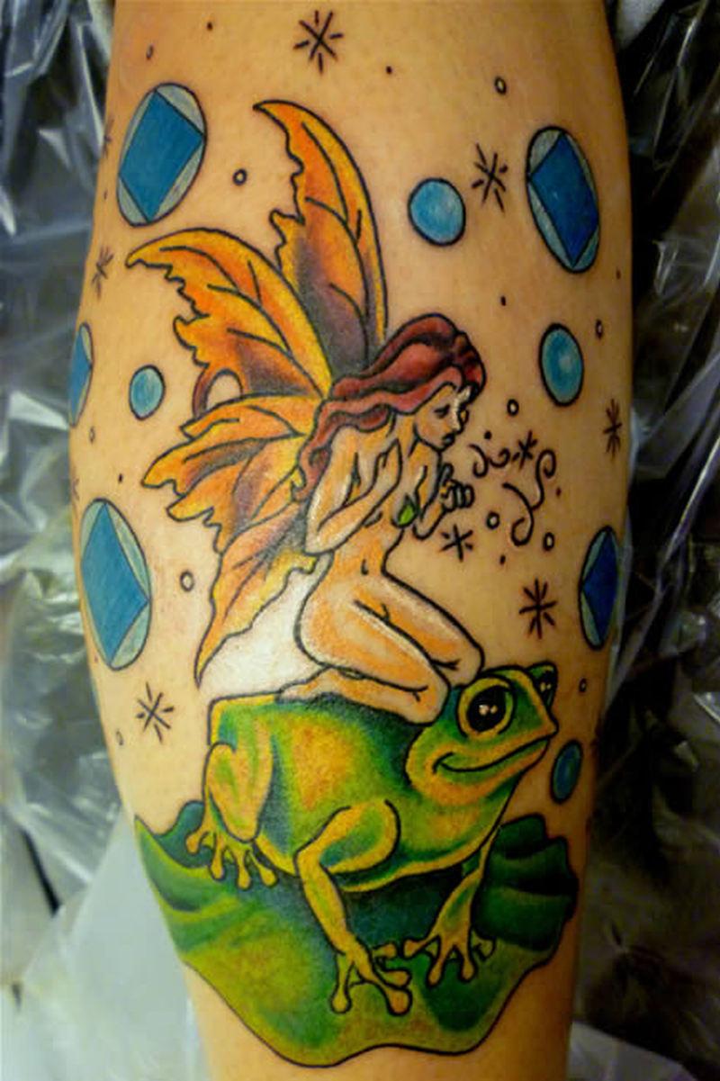 Fairy frog tattoo design