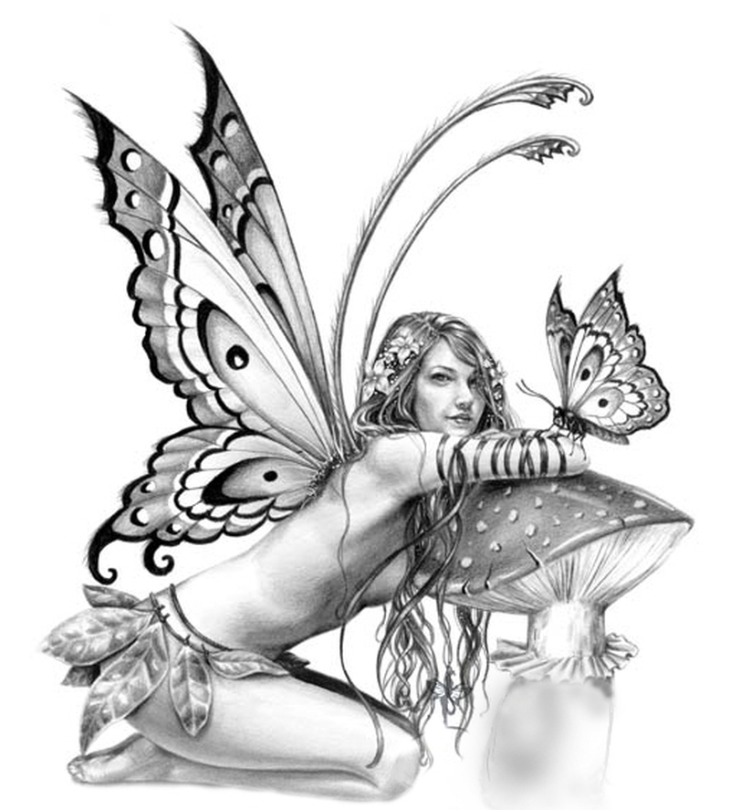 Fairy n butterfly tattoo sample