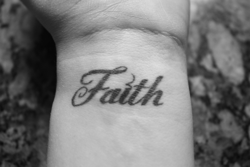 Faith word tattoo on wrist