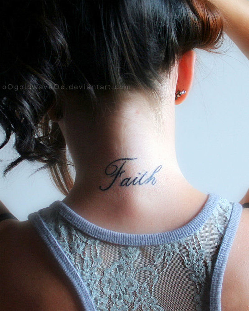 Faith words tattoo on nape