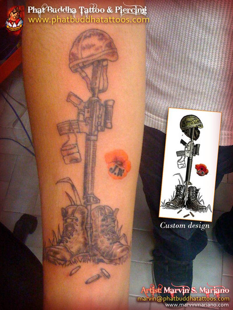 Fallen army soldier tattoo design