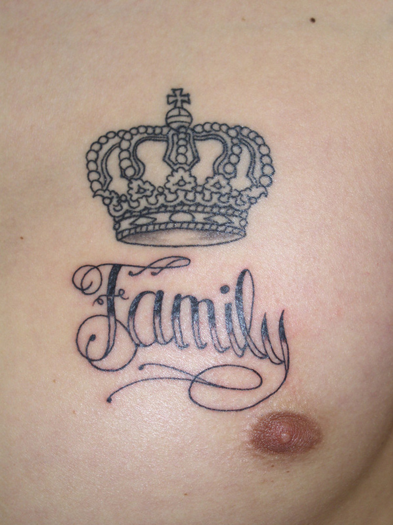 family crown tattoo on chest tattoos book tattoos designs. Black Bedroom Furniture Sets. Home Design Ideas