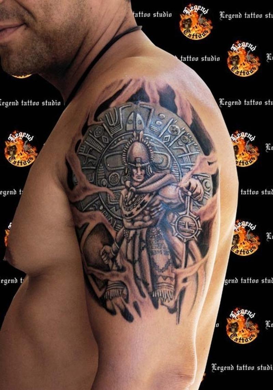 Fantastic Aztec Warrior Tattoo On Shoulder Tattoos Book 65 000 Tattoos Designs