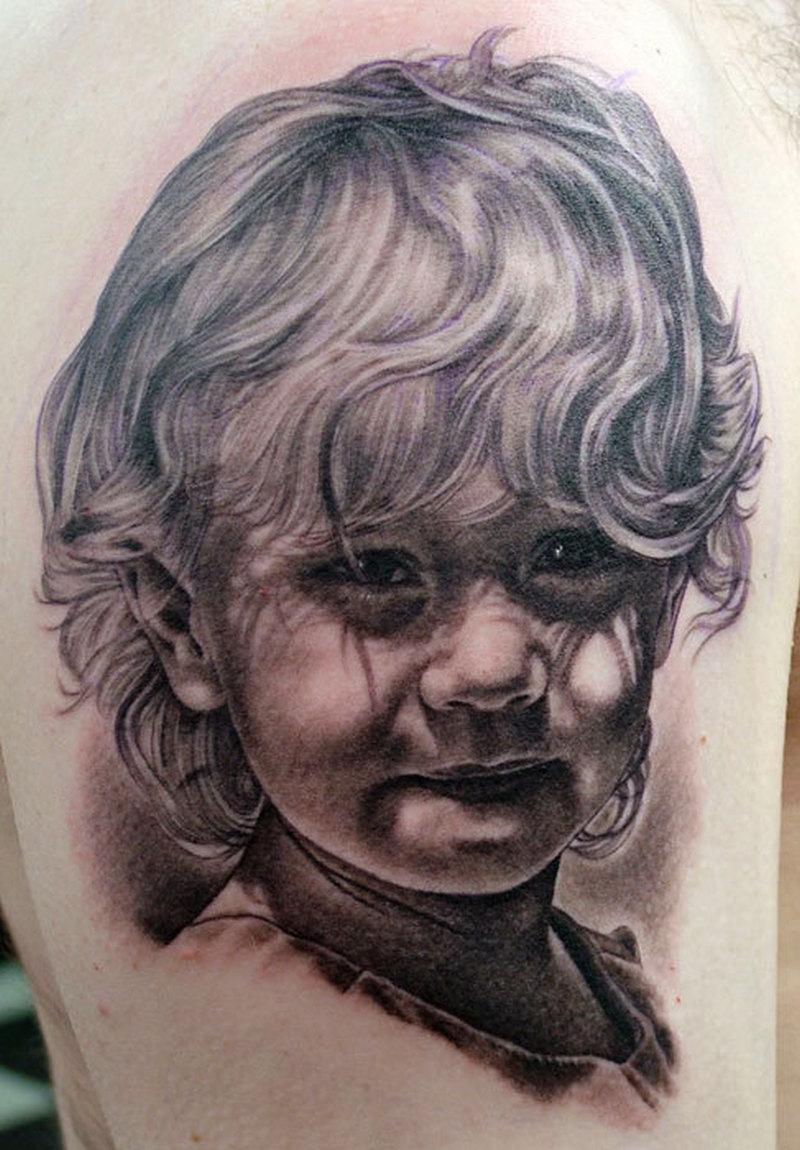 Fantastic baby portrait tattoo