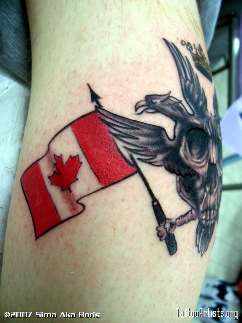 Fantastic canadian flag tattoo design