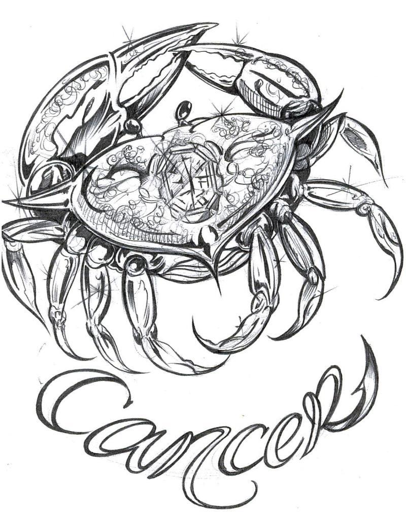 Fantastic cancer tattoo design