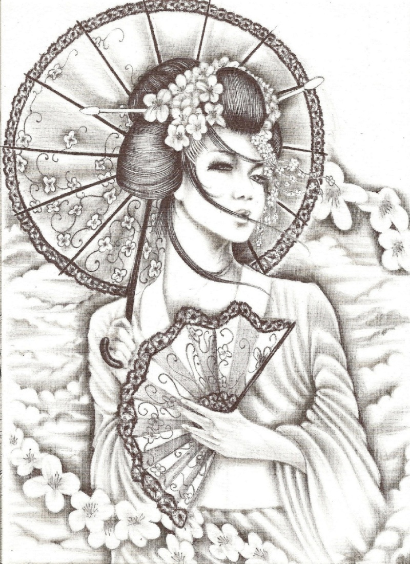 Fantastic geisha tattoo design