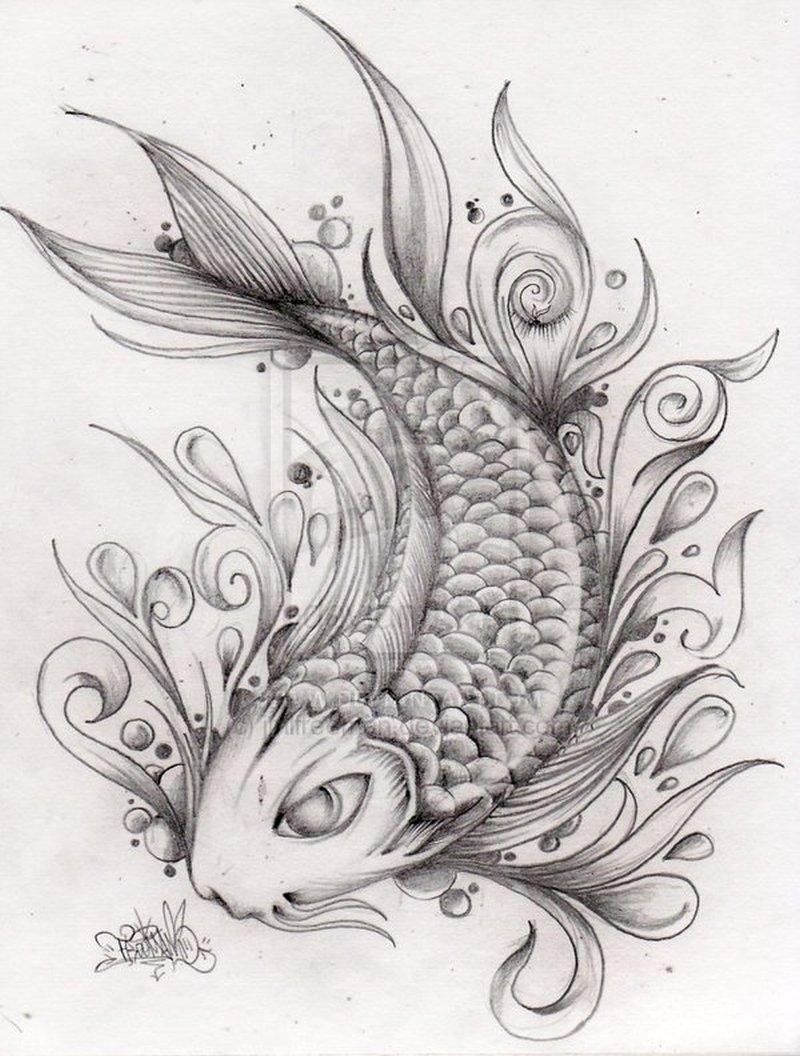 Fantastic koi fish tattoo drawing