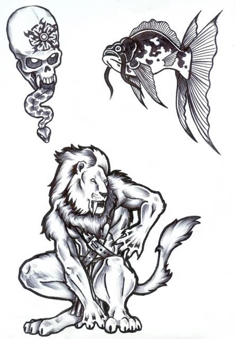 Fantasy animal tattoo styles