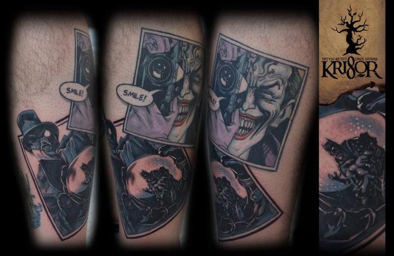 Fantasy batman joker tattoo on arm