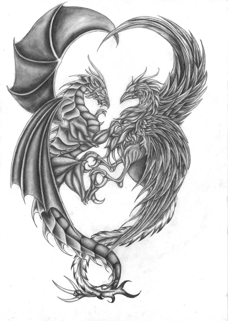 Fantasy dragon tattoo drawing