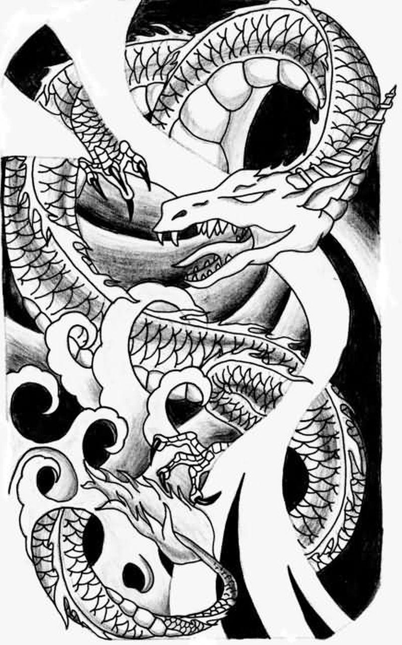 Fantasy dragon tattoo style