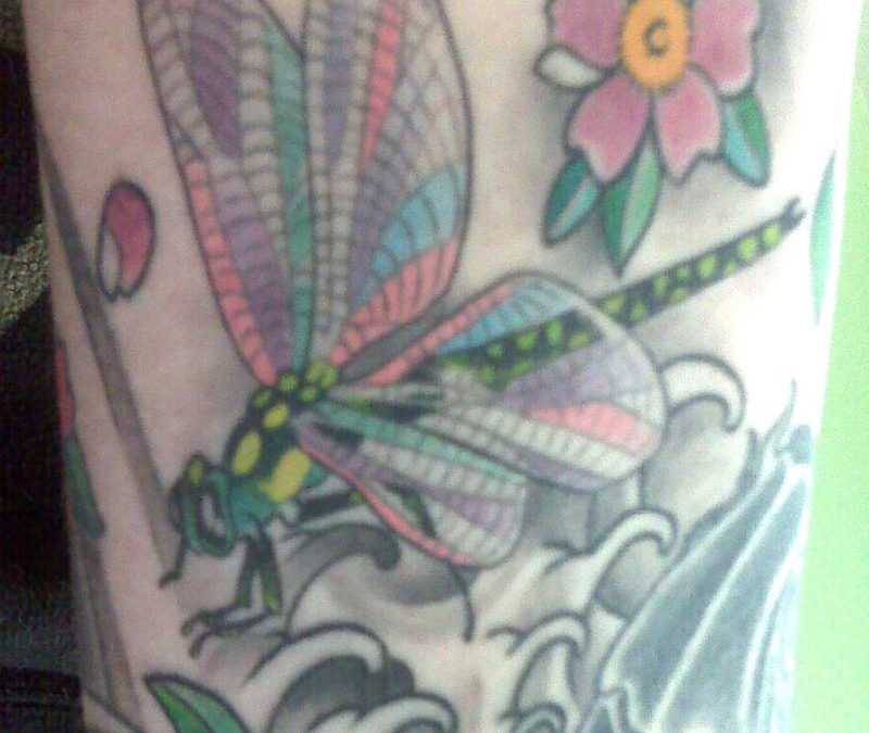 Fantasy dragonfly insect tattoo design