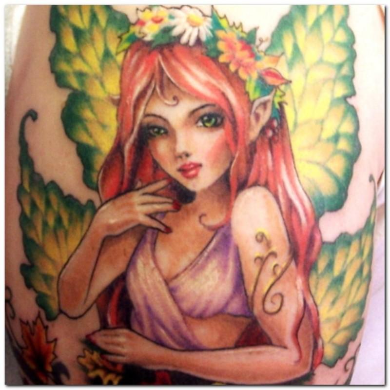 Fantasy fairy girl tattoo design