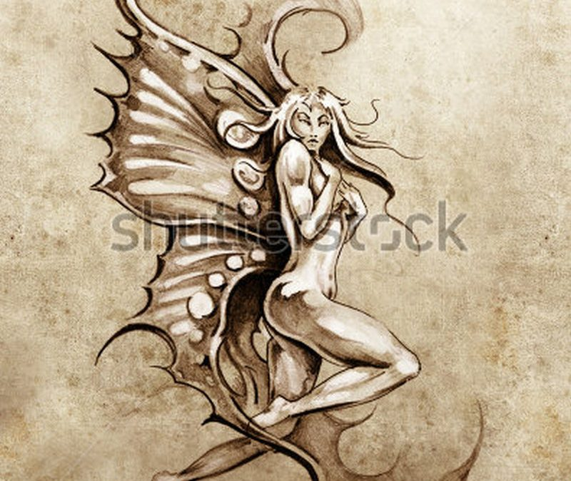 Fantasy fairy tattoo sketch