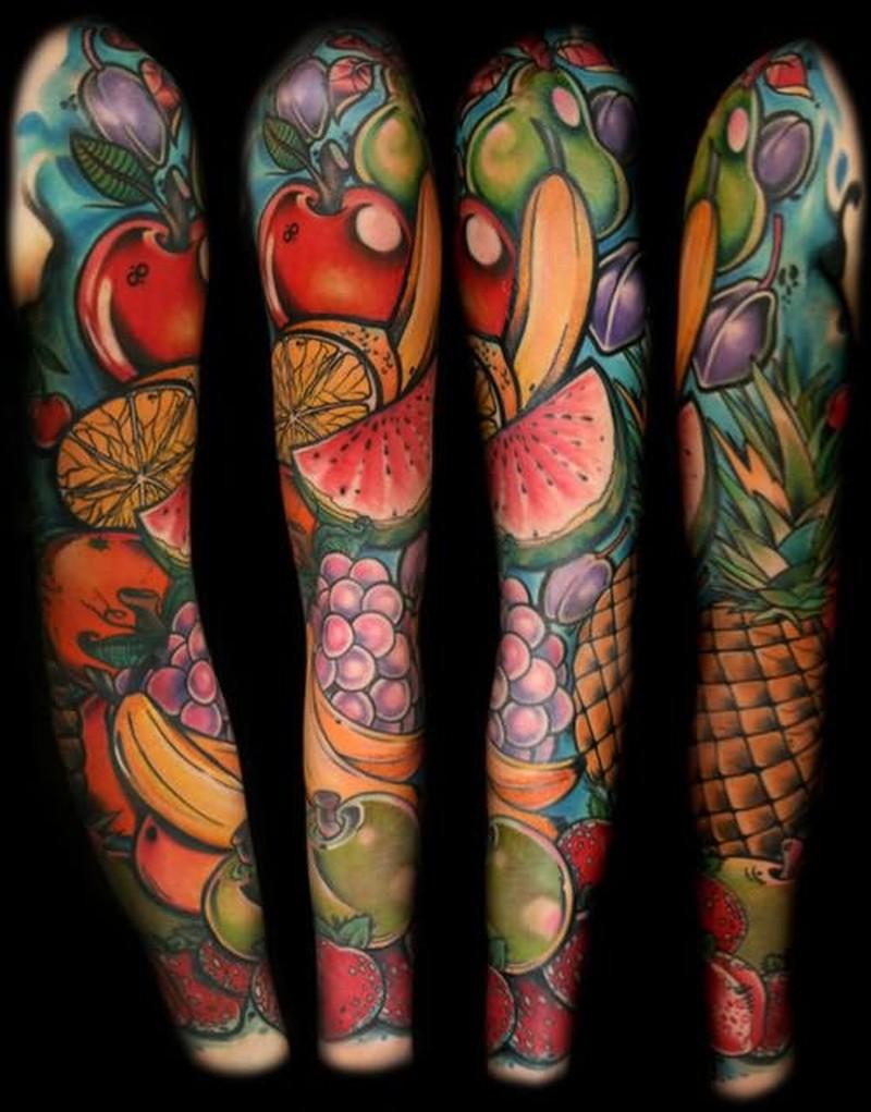 Fantasy fruits tattoo on full arm