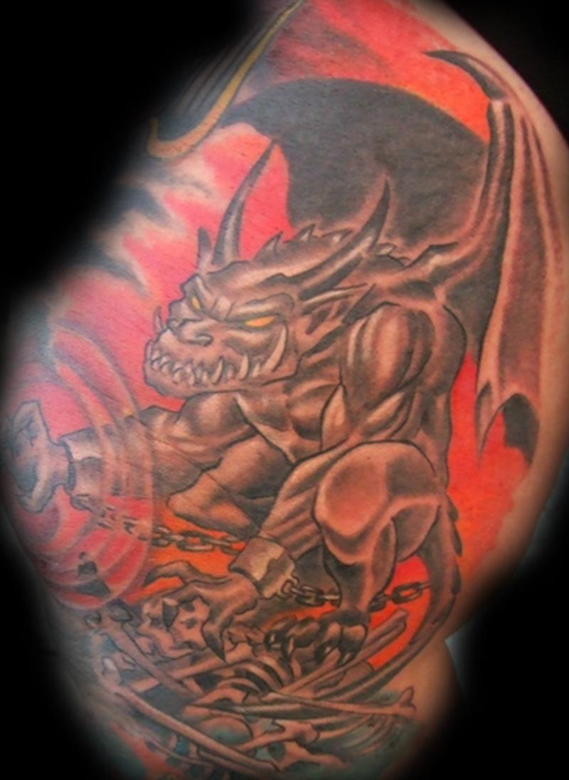 Fantasy gargoyle tattoo design
