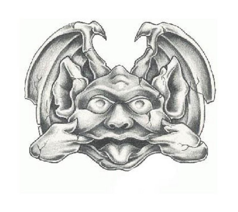 Fantasy gargoyle tattoo sample