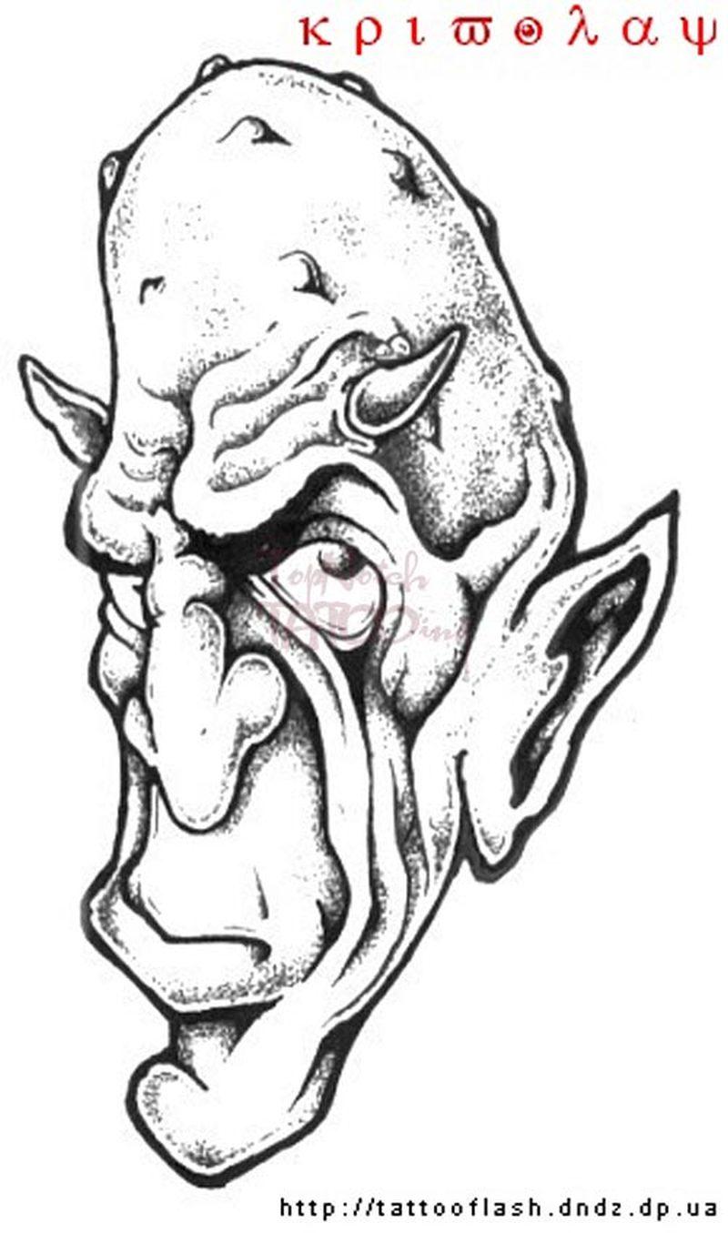 Fantasy monster tattoo sample