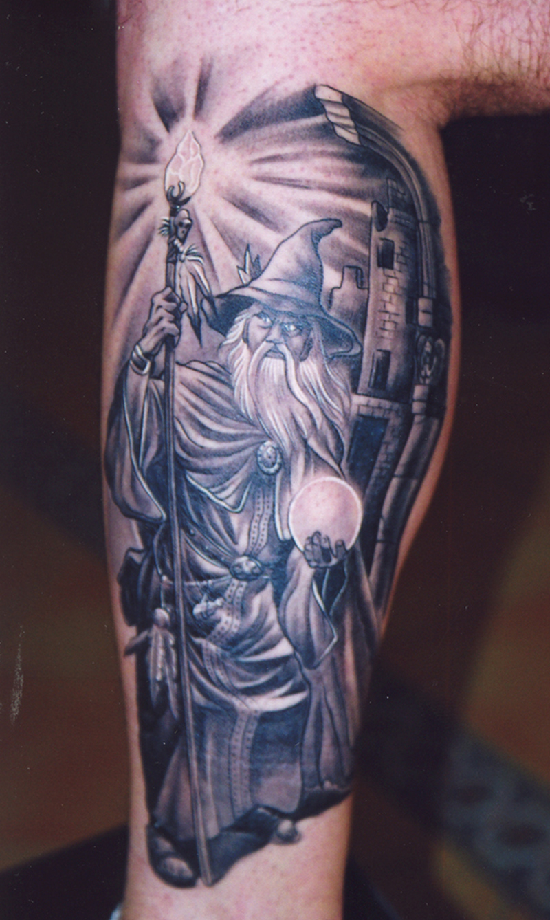 Fantasy tattoo on muscles