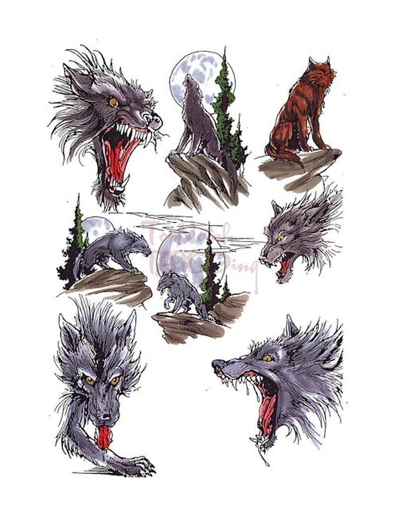 Fantasy wolf tattoo designs