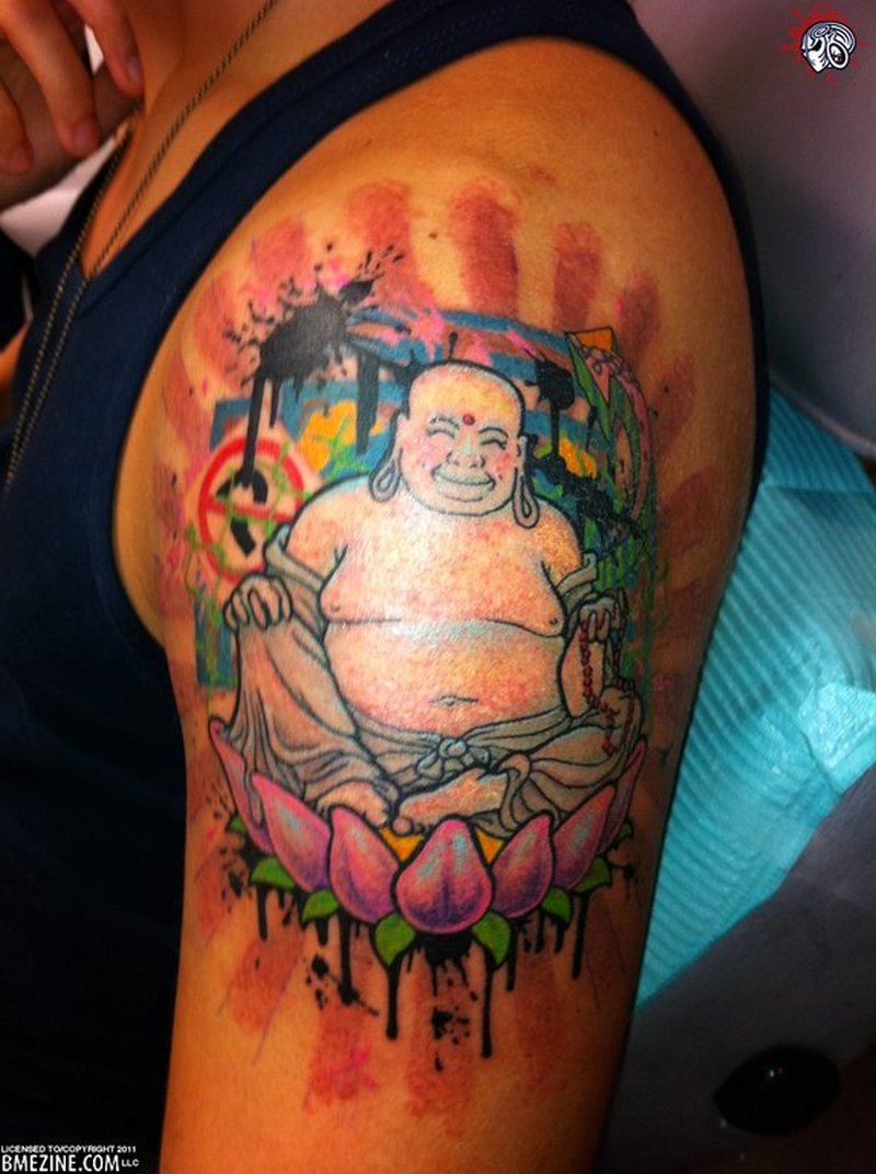 Fat buddha lotus tattoo on biceps