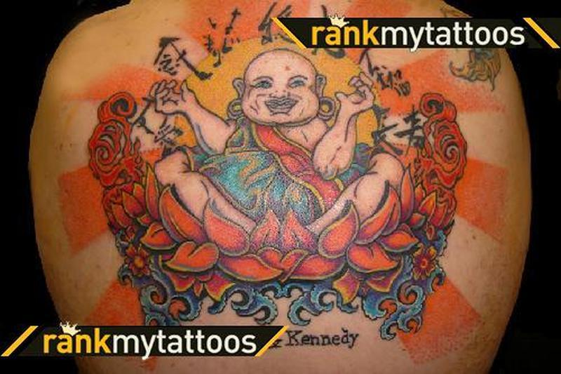 Fat buddha religious tattoo on back