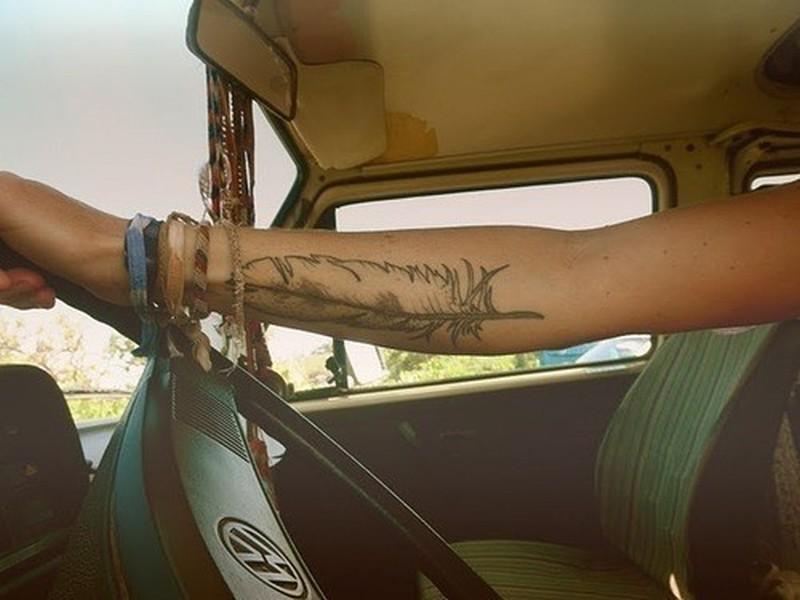 Feather forearm tattoo design