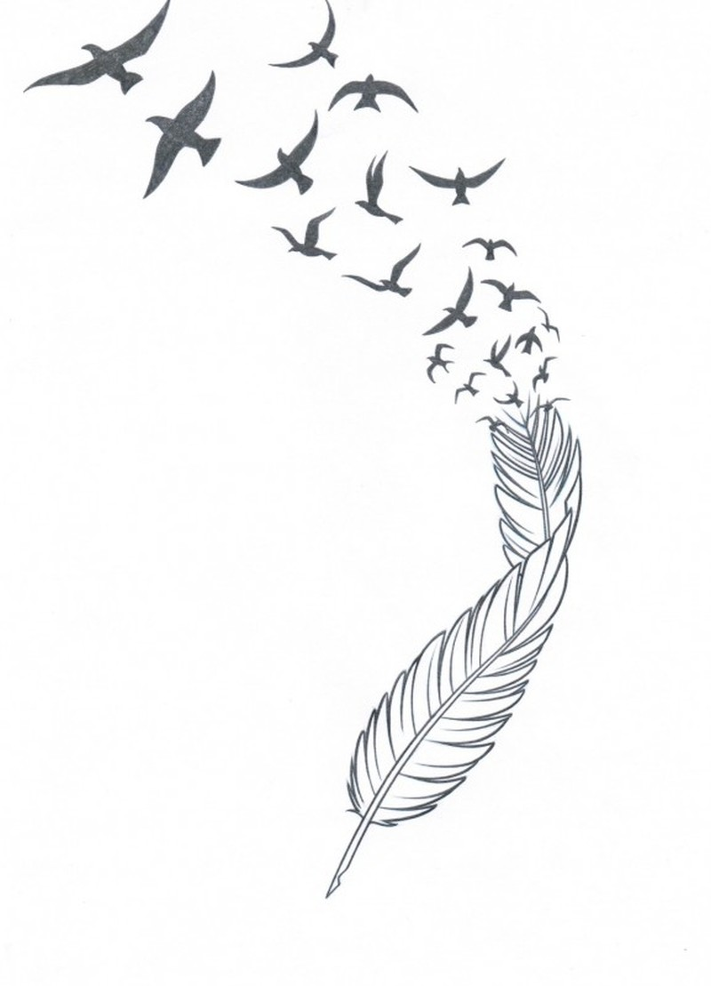 Feather n birds tattoo stencil - Tattoos Book - 65.000