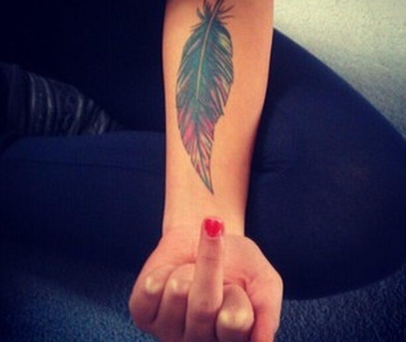 Feather tattoo design on forearm 2