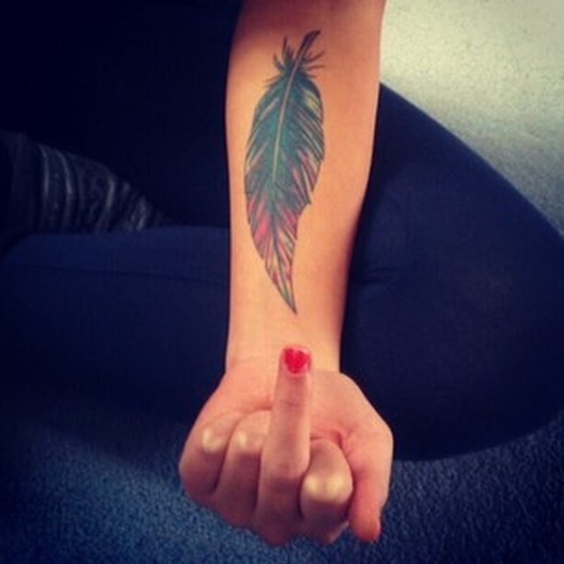 880c657ba Feather tattoo design on forearm 2 - Tattoos Book - 65.000 Tattoos ...