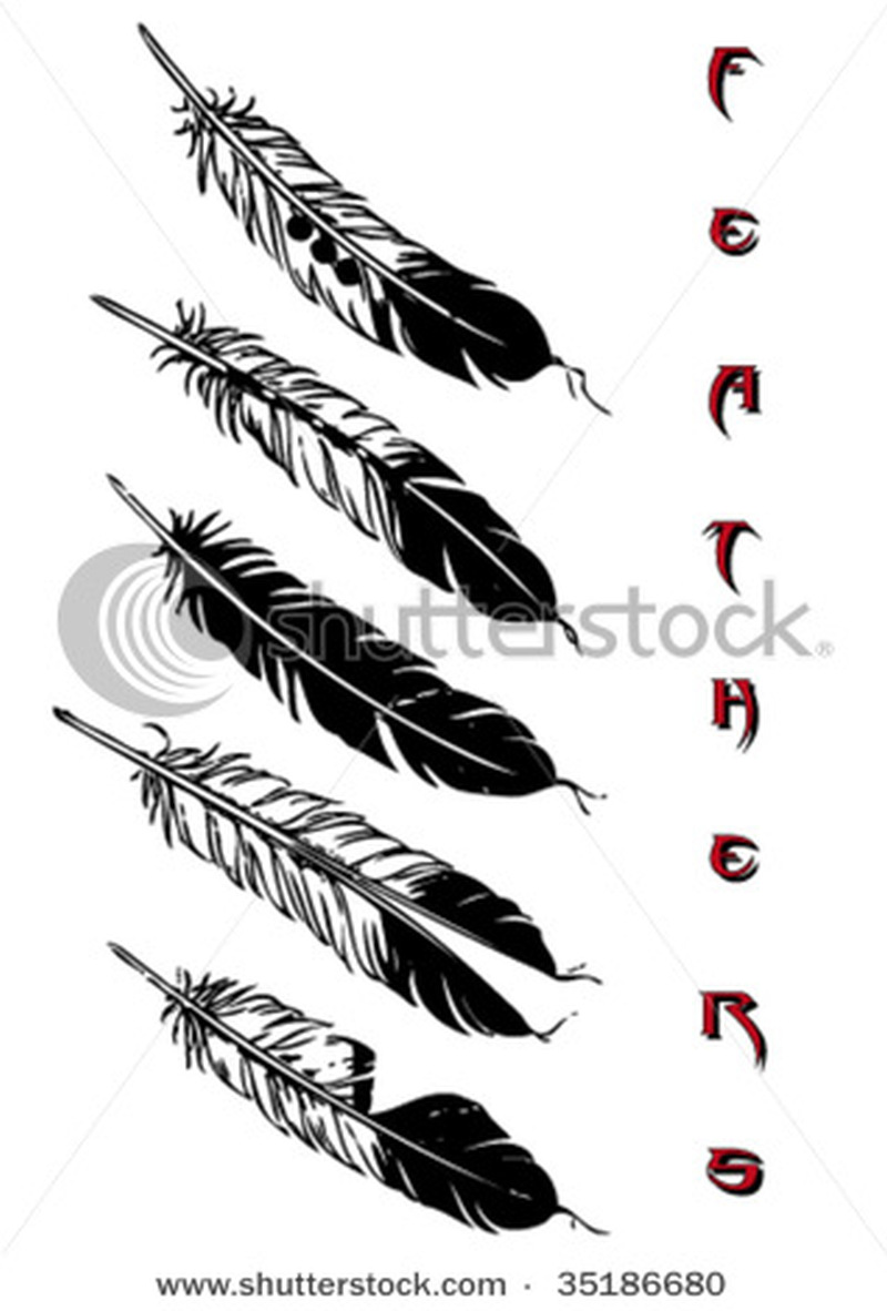 Feather tattoo set