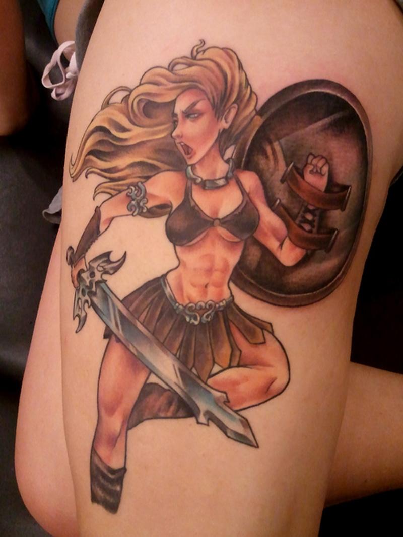 Female warrior fantasy tattoo on leg