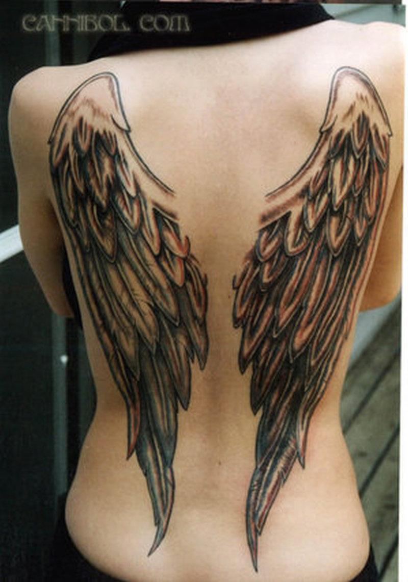 Татуировки фото крылья ангелов у девушек