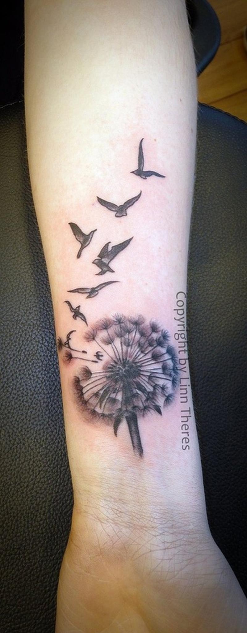 Feminine dandelion n birds tattoo on wrist