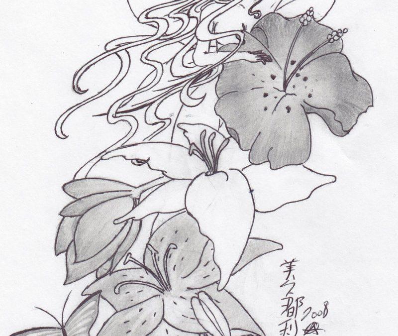 Feminine floral tattoo design
