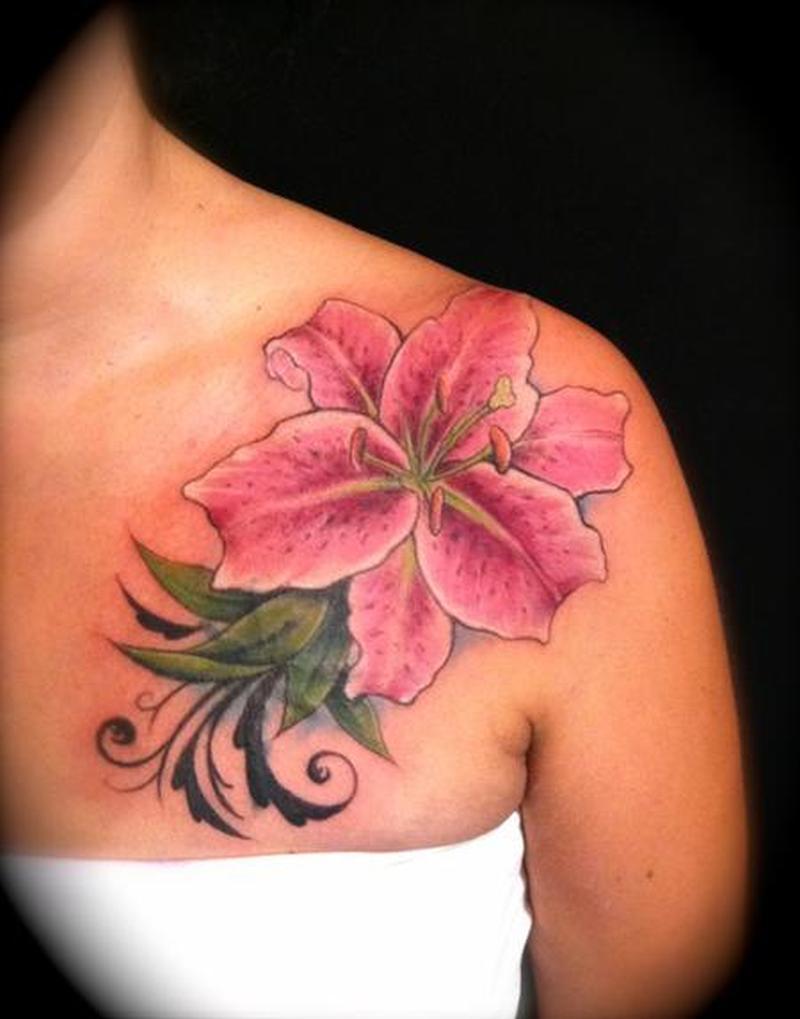 Feminine pink flower tattoo on shoulder tattoos book 65000 feminine pink flower tattoo on shoulder izmirmasajfo
