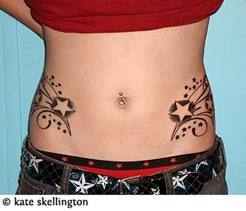feminine stars tattoo on belly tattoos book tattoos designs. Black Bedroom Furniture Sets. Home Design Ideas