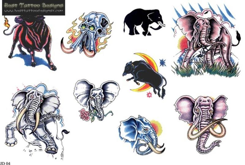 Few elephant tattoo designs